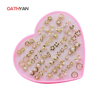 Oathyan 36 pairsファッション真珠スタッドピアスに設定された女性パンク花/フクロウ/スター/蝶/ちょう結び小さなイヤリングセットミックス耳スタッ