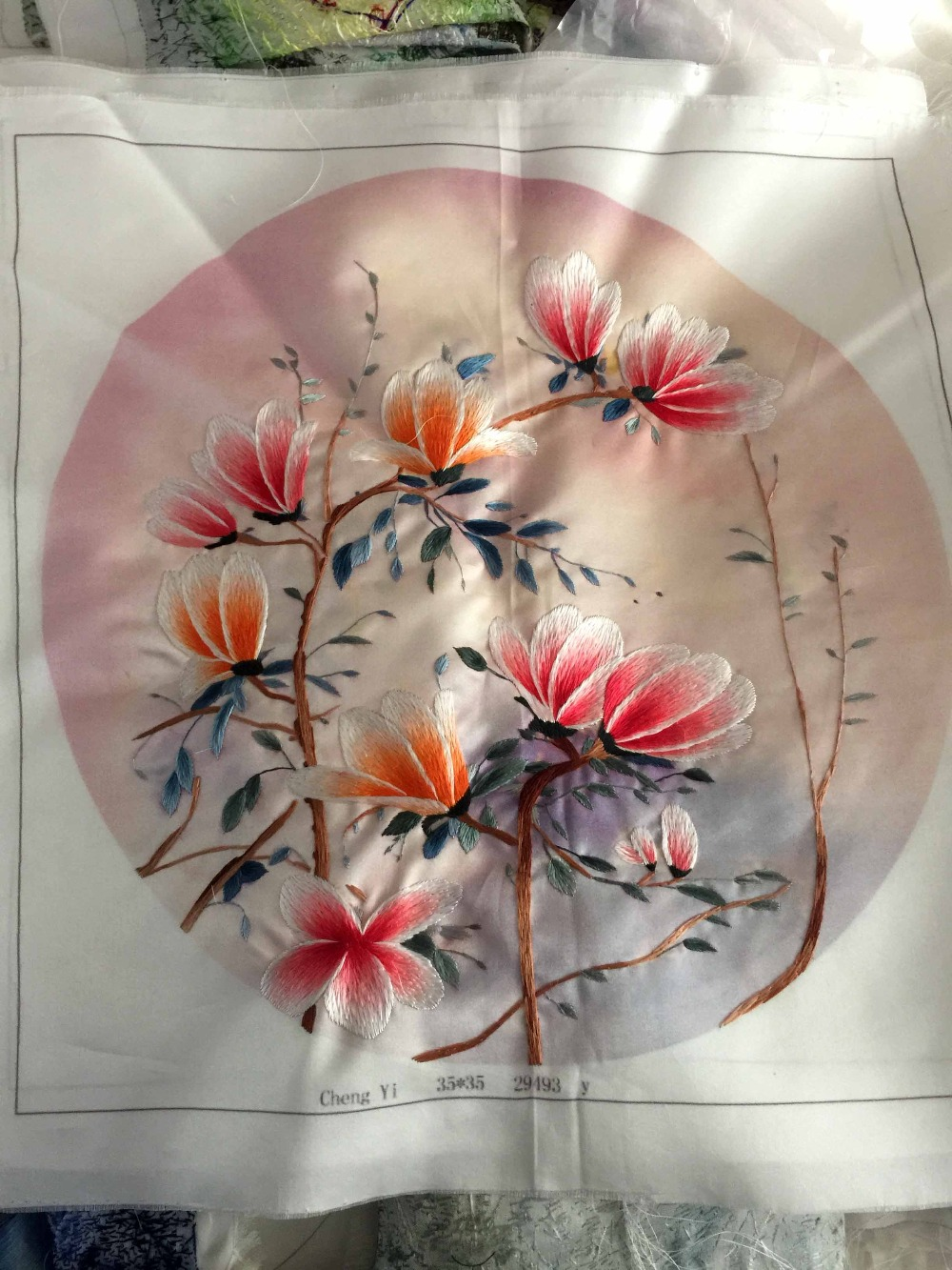 Handmade Pure Silk Stitch Embroidery Painting Arts Decor