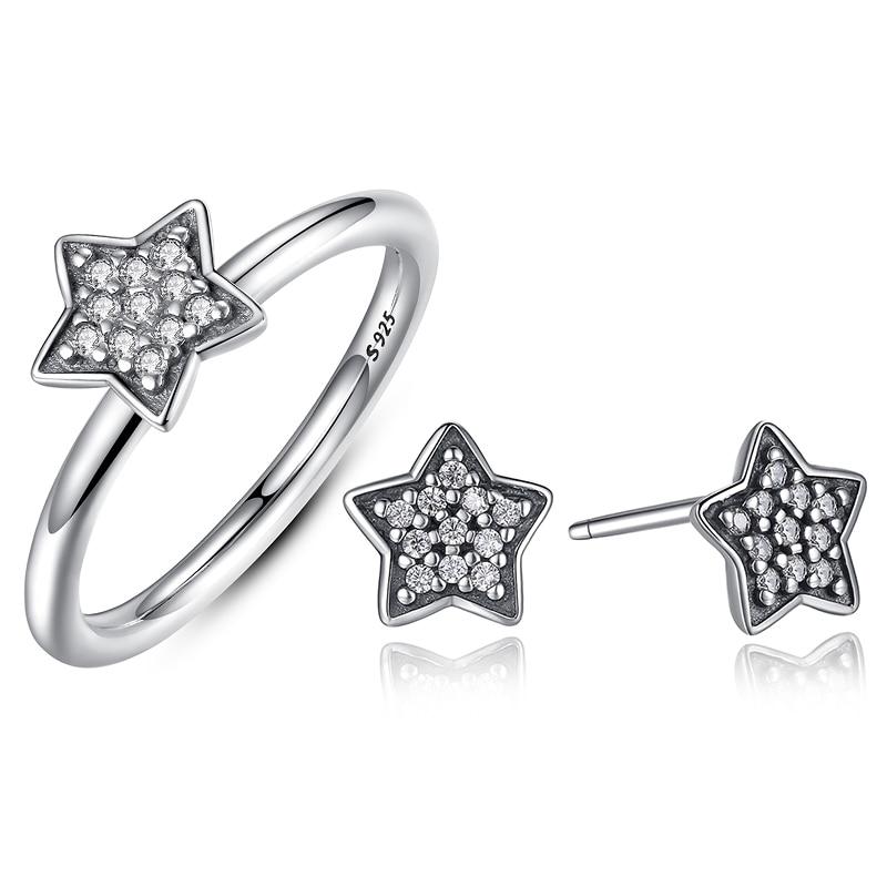 Cute Girl Women Jewellery 925 Sterling Silver CZ Star Stud font b Earrings b font and