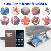 5 5inch Left Right Painted High Quality For Microsoft Nokia 6 Case PU Leather Flip Book
