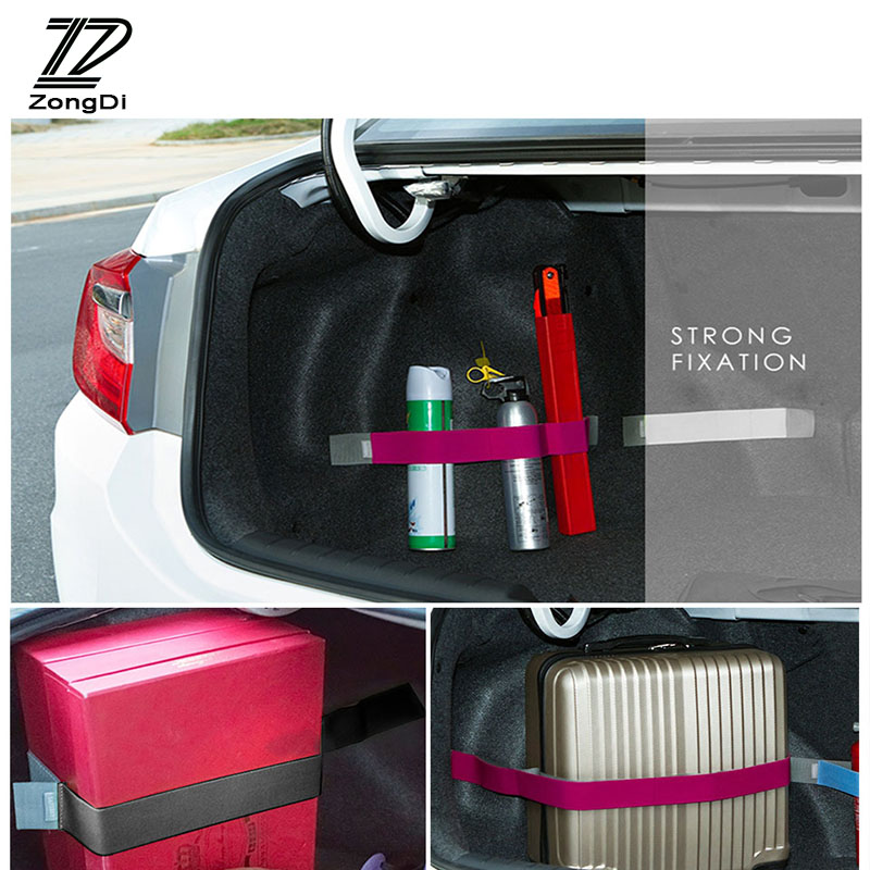 ZD Car Styling Trunk Storage Fixed Strap Sticker For Kia Rio 3 Ceed Toyota Corolla 2008 Avensis C-HR RAV4 Mazda 3 6 Accessorie zd 2x car styling for kia rio 3 ceed toyota corolla 2008 avensis c hr rav4 mazda 3 6 air red horn alarm loudspeaker blast tone