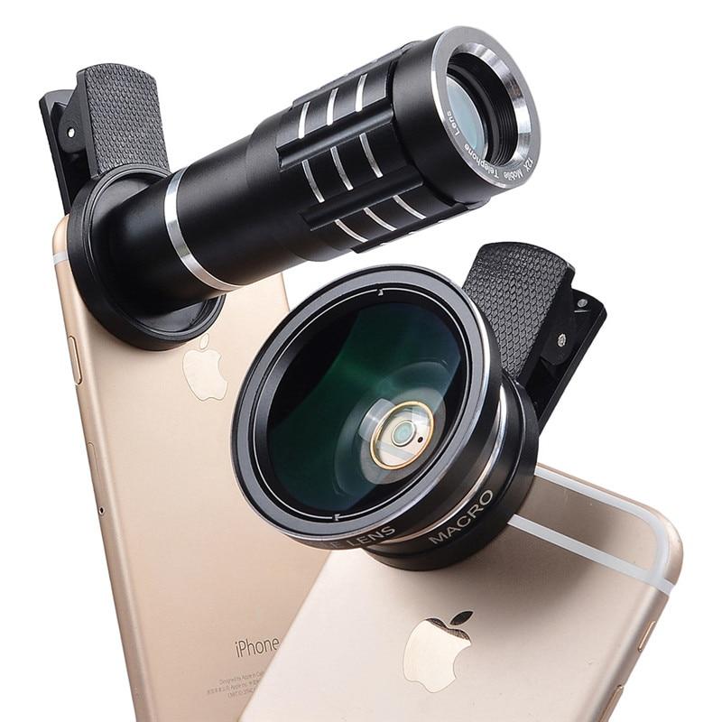 bilder für BUFFLE 12X Tele Teleskop Handy-objektiv 0.45X Weitwinkelobjektiv + Super-makro-objektiv Objektiv für Samsung Galaxy S4 S5 S6 S7 S8 Plus