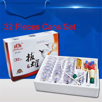 32Pcs/Set Cans cups Chinese vacuum cupping kit pull out a vacuum apparatus therapy relax massagers curve suction pumps Cheap CE