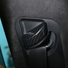 Carbon Fiber Color ABS Plastic Safety Belt Cover Trim For Maserati Levante 2016 Car-Styling Accessories Set of 2pcs carbon fiber style abs plastic car rear row back seat net bag frame trim fit for maserati ghibli for levante car accessories