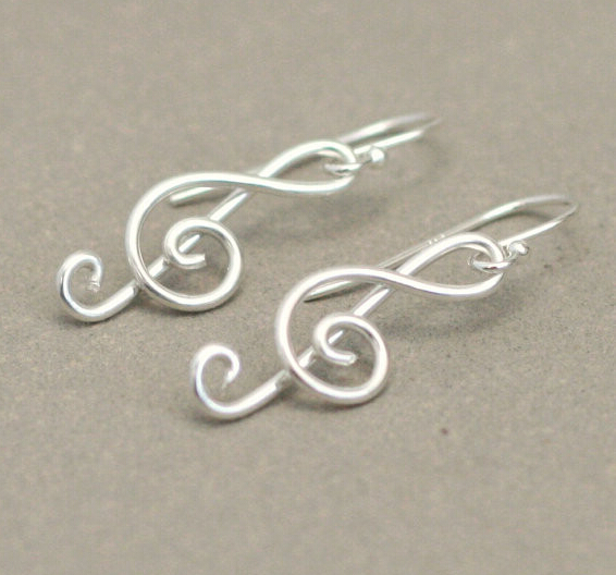 Free Shipping Treble Clef Earrings G Music Argentium Silver Dangle In Drop From Jewelry Accessories On Aliexpress