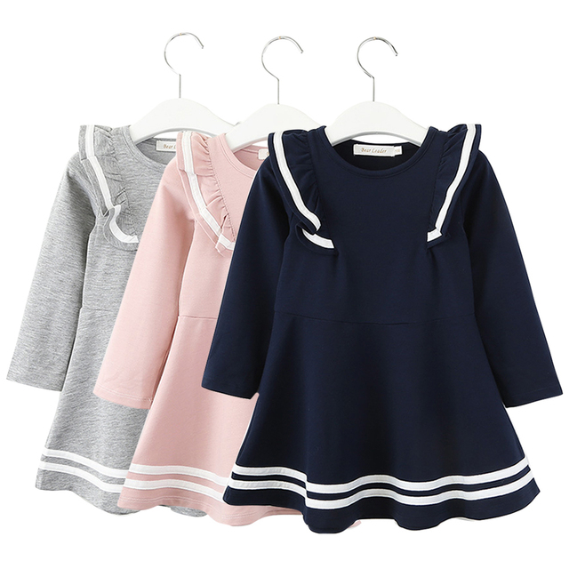 KAVKAS Long Sleeve Spring Autumn with Solid Dress for Girls