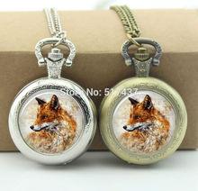 Fox Pocket Watch Women Watch Necklace Mini Glass Locket Necklace Style Retro Vintage Pocket Watch Necklace