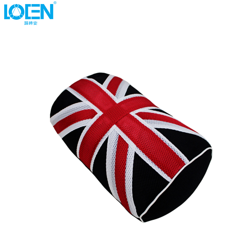 Newest breathable car seat back cushion pillows back uk flag print mesh cloth lumbar support for