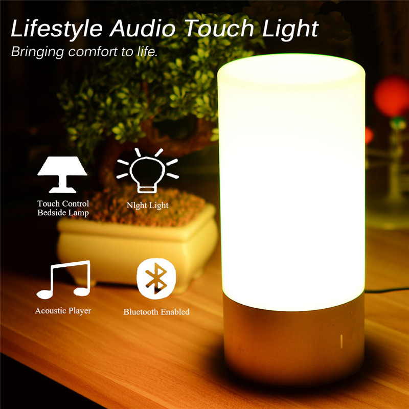 Litake LED Table Lamp Bluetooth Bedside Lamp Speaker Touch Sensor Reading Lamp Smart-phone Control RGB Changing Colors