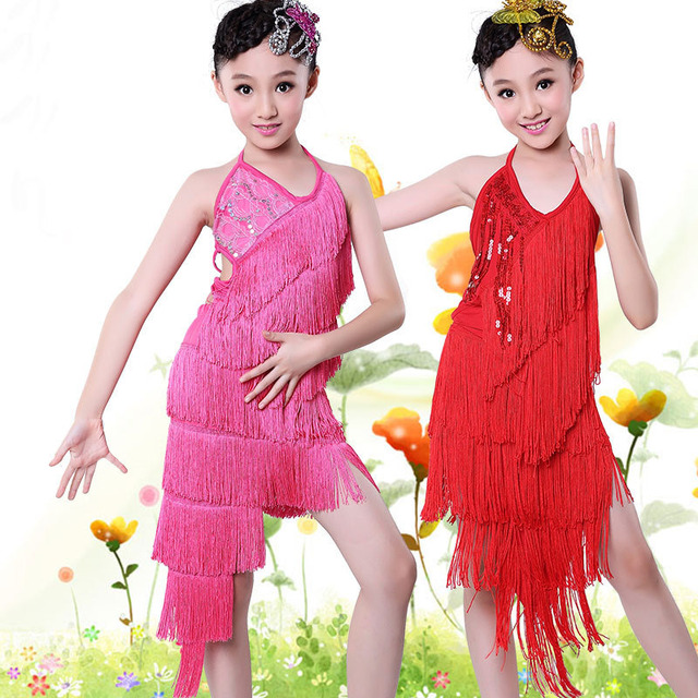 8717ad1e36 105-165cm Height Child Festival Costumes Outfits Girl Kids Latin Fringe Dress  Children Cha Cha Rumba Salsa Tango Dancing Dresses