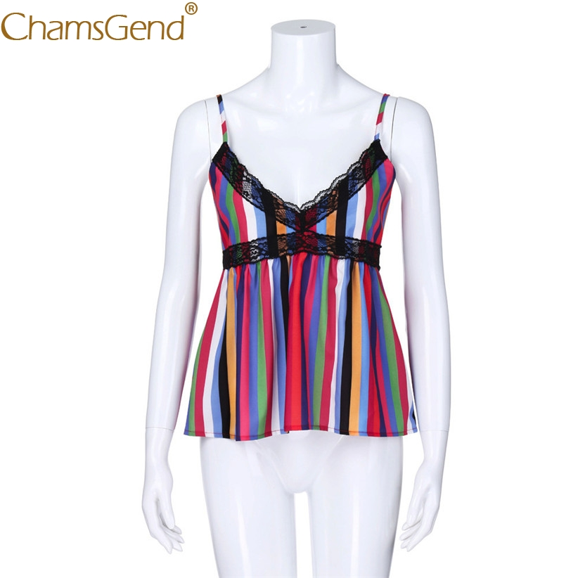 Hot Sale Drop Shipping Women Rainbow Striped V Neck Lace Camis 80703