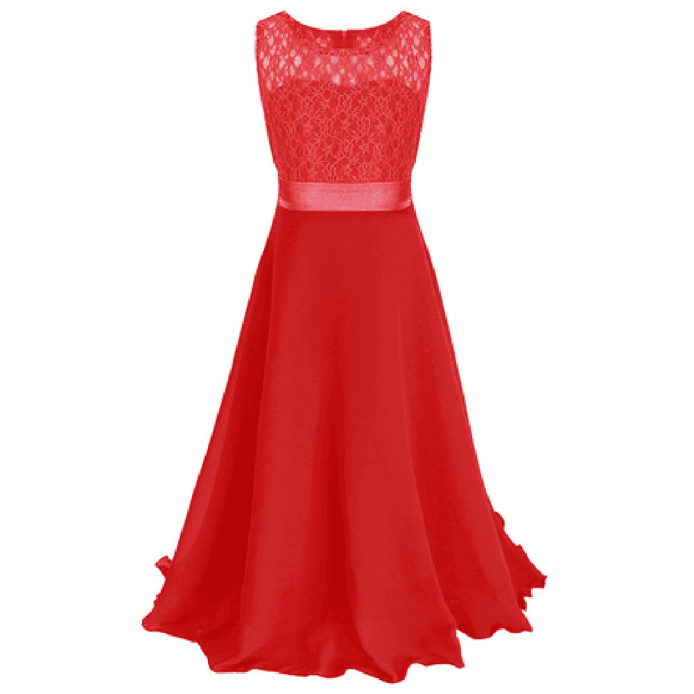 Girls Party Clothing For Children Summer Sleeveless Lace Princess Wedding Dress Girls Teenage Well Party Prom Dress For 6-16Y цена