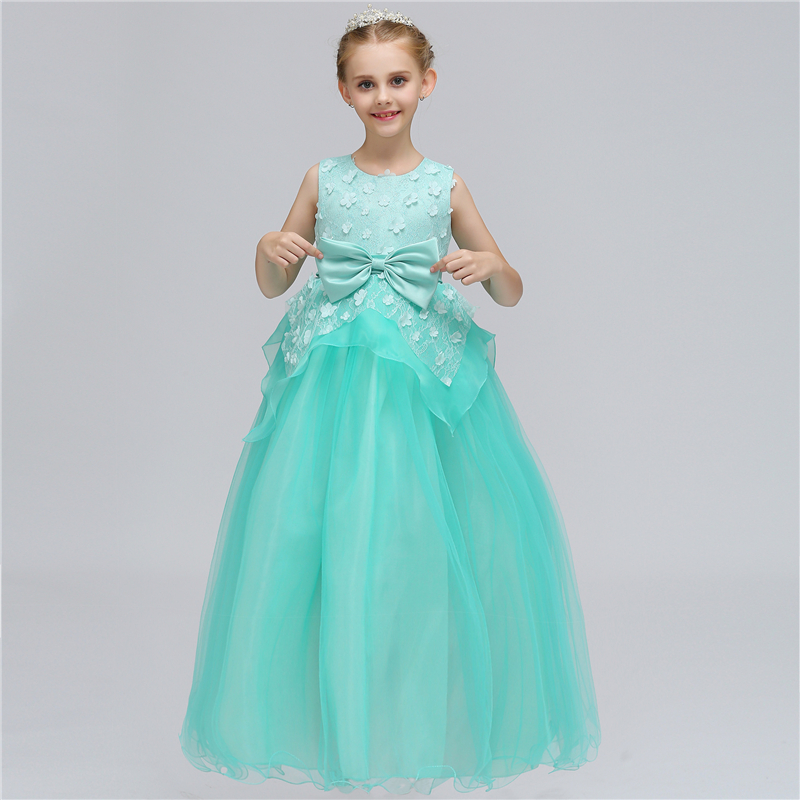 2018 New Flower Girl Dress Wedding Lace Big Bow Kids Girls Princess Dress for Evening Party Wear Cute Children Birthday Clothes girls europe and the united states children s wear red princess long sleeve princess dress child kids clothing red bow lace