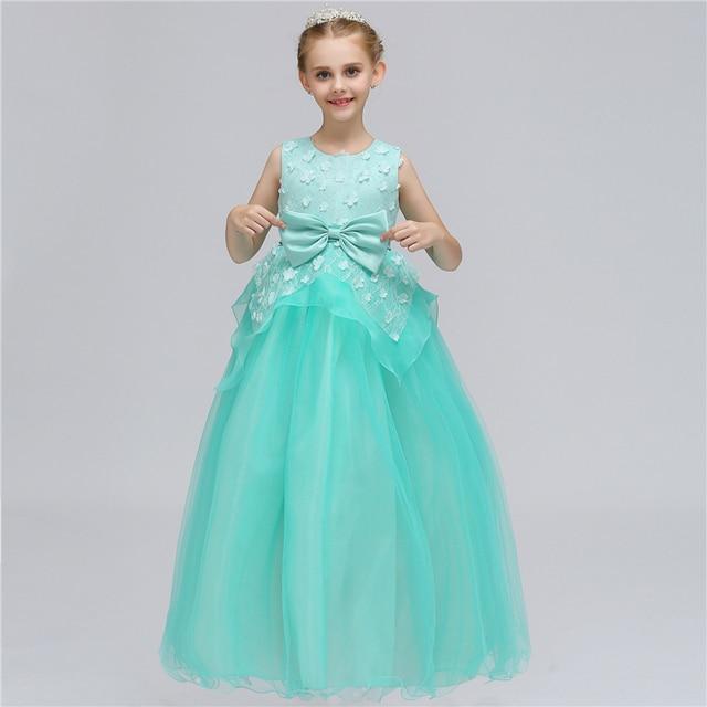 2018 New Flower Girl Dress Wedding Lace Big Bow Kids Girls Princess ...