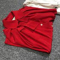 2018ss 100% SILK Woman Fashion Luxury Designers Red Shirt Bow Tied Collar Batwing Sleeves Oversized Top Button UP