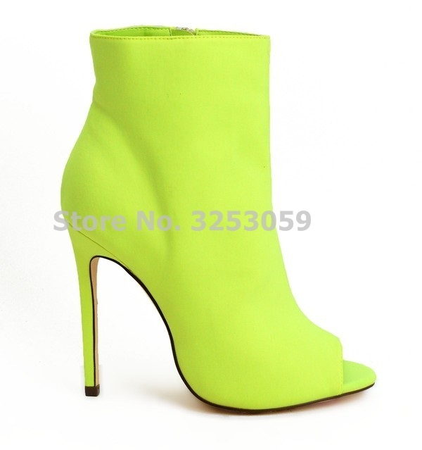 ALMUDENA Women Peep Toe Ankle Stiletto Heel Booties Neon Yellow Red Fuchsia  Black Suede Ankle Boots Gladiator Dress Shoes Pumps cd0d3dcad1