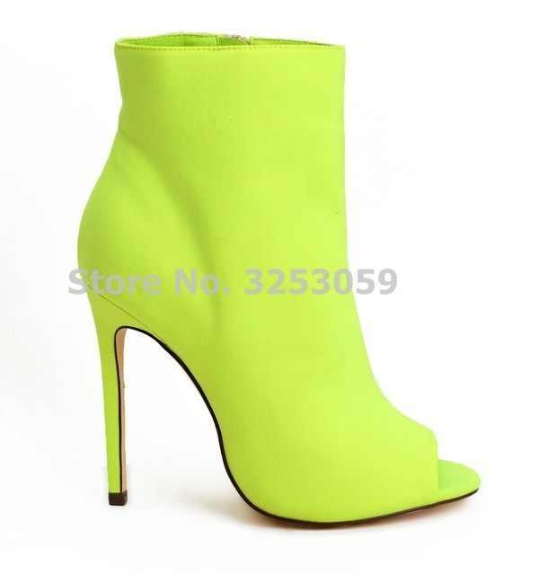 fa23006fa354 ALMUDENA Women Peep Toe Ankle Stiletto Heel Booties Neon Yellow Red Fuchsia  Black Suede Ankle Boots