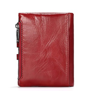 Image 2 - KAVIS Dark Red Genuine Leather Women Wallet Female Coin Purse Small Walet Portomonee Lady PORTFOLIO Zipper for Girls Vallet Mini