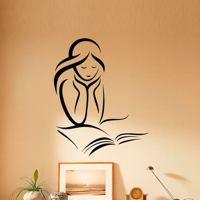 ZOOYOO Girl Reading Books Wall Sticker Home Decor Reading Room ...