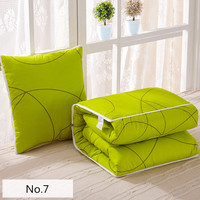 Modern Style Of Solid Green Pattern Soft Bolster Blanket Two Uses Cushion Good Quality Pillow Summer