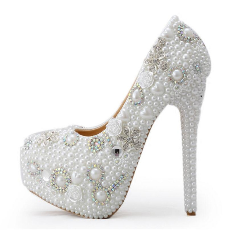 39 style 14CM new arrival pearl white fashion women's wedding pumps high heel platform wedding shoes gentlewomen bridal shoes