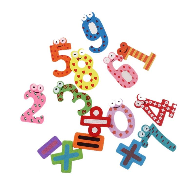 2016 different color 15pcs Fridge Magnets Wooden cartoon digital refrigerator gift wholesale