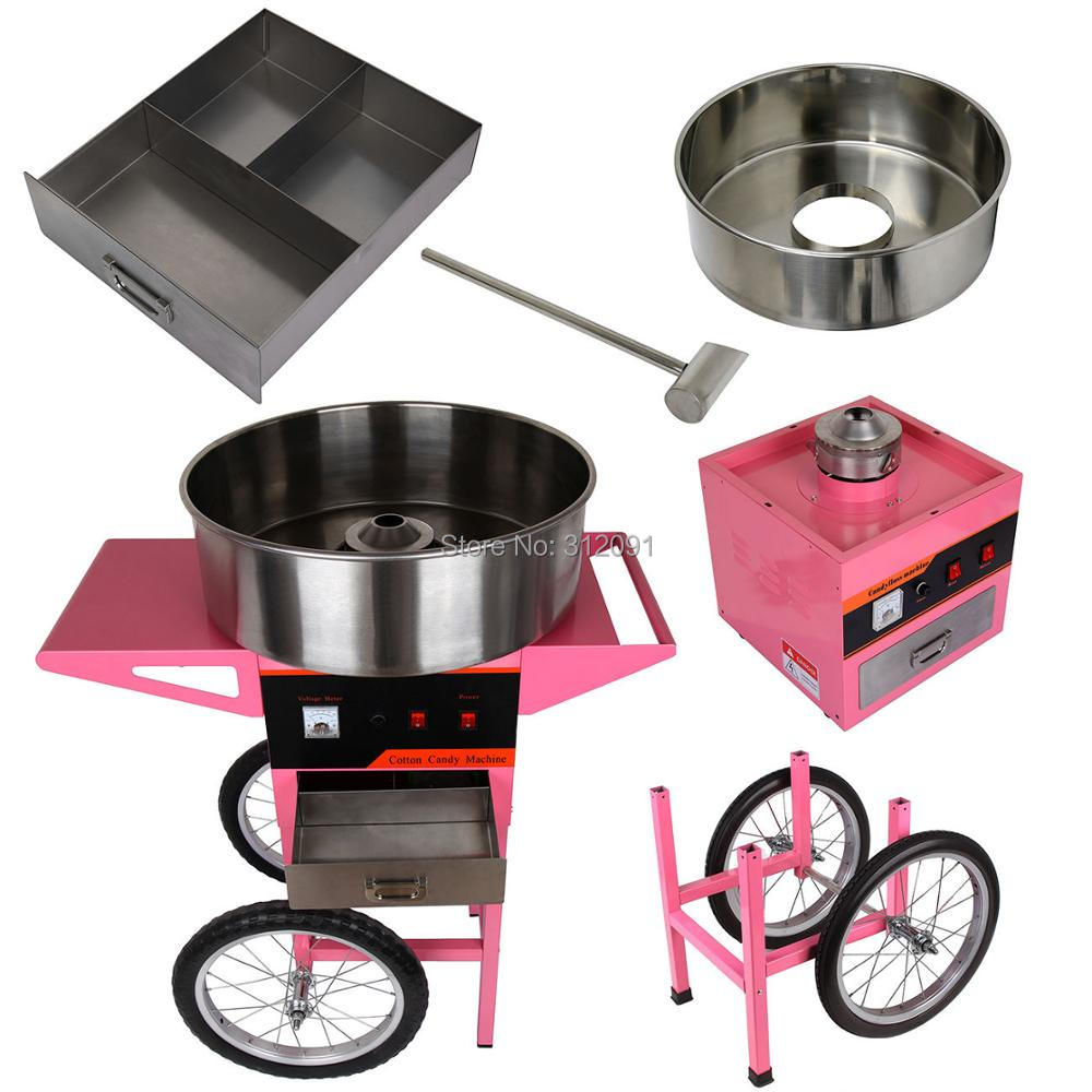 (Ship from EU) 20 inch Stainless Steel Pan 1100W Cotton Candy Machine Candy Floss Maker Fairy Floss Maker with Wheel Cart -LB05 1030w electric commercial cotton candy maker fairy floss machine stainless steel pink