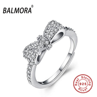 2016 New 100 Real 925 Sterling Silver Jewelry Charm Bowknot Crystal Open Rings For Women Party