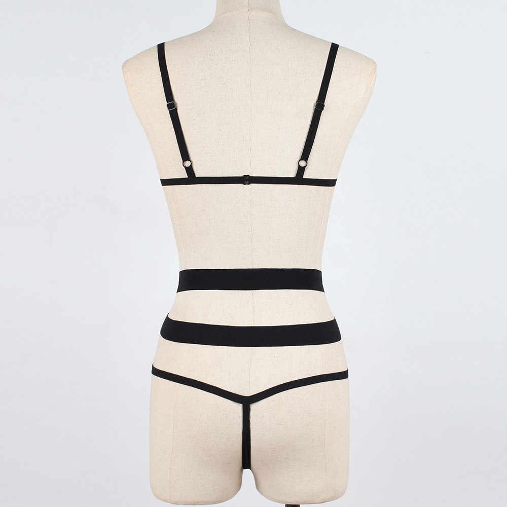 2 PCS סט תחבושת הולו מתוך חזייה סקסי הלבשה תחתונה Underpant מסולסל Trim נשים Nightwear חוטיני Babydoll הלבשת