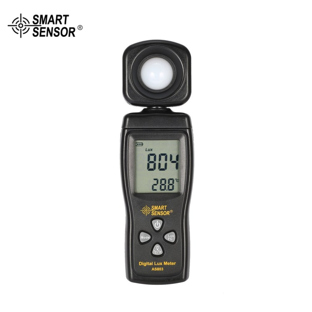 SMART SENSOR AS803 Digital Lux Meter Luminance Tester Light Meter 1-200000 Lux Tools Photometer Spectrometer Actinometer