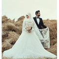 2016 Puffy Dubai Muslim Long Sleeve wedding dress Appliques Bridal Gowns Arabic Vestido De Noiva Wedding dresses +Free Petticoat
