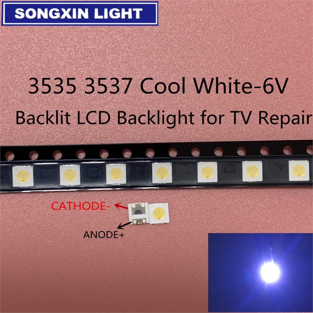 100 pces para wooree uni led backlight lcd tv grânulo 3 v 6 v 1 w 3535 led smd lâmpada grânulo 3535 branco frio
