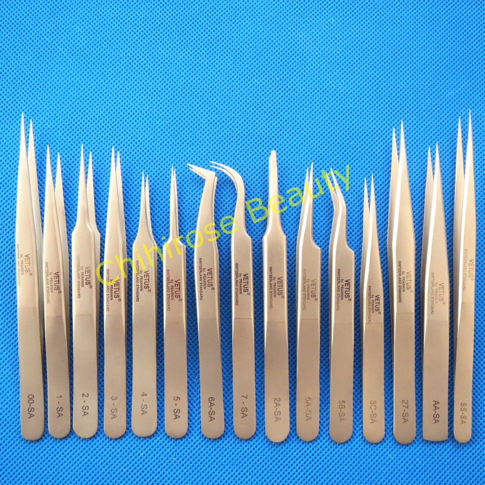 10 pcs lot VETUS Tweezers Anti static Stainless Steel Tweezers Repairing Maintenance Tools Free Shipping