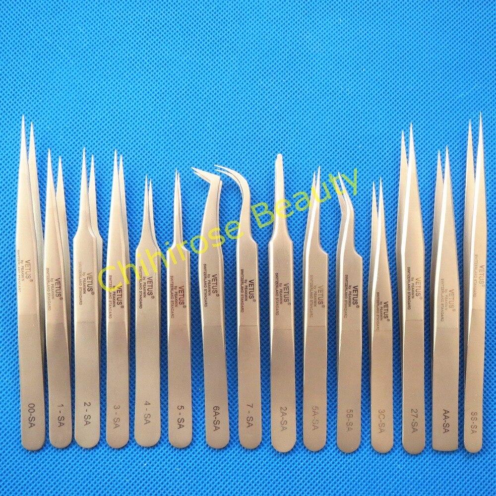 10 pcs lot VETUS Tweezers Anti static Stainless Steel Tweezers Repairing Maintenance Tools Free Shipping