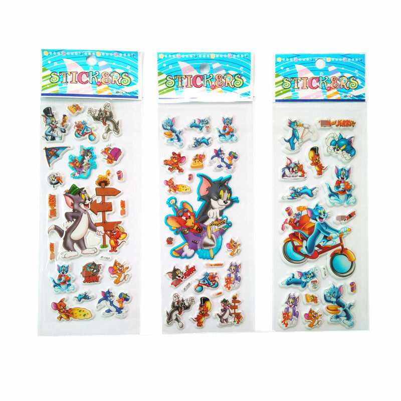 Bubble stickers 6 Sheets/Set 3D Foam Cartoon Tom cat Kids Cute Stickers Puffy Stickers Children DIY Toys Girls Birthday Gift