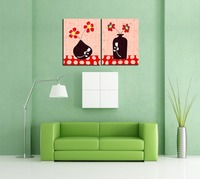 2 Pieces Abstract Vase And Flower Canvas Painting Two Picture Combination Home Decorative Painting Core Only