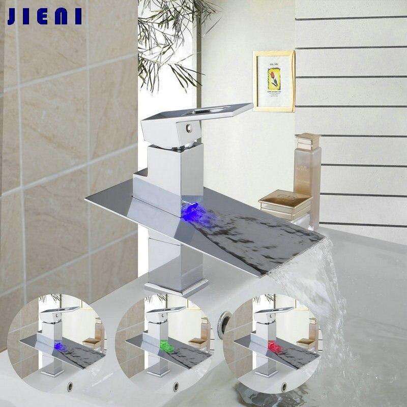 Ванная комната бортике светодиодный с 3 цвета бассейна раковина кран Одной ручкой хром смеситель jn6101