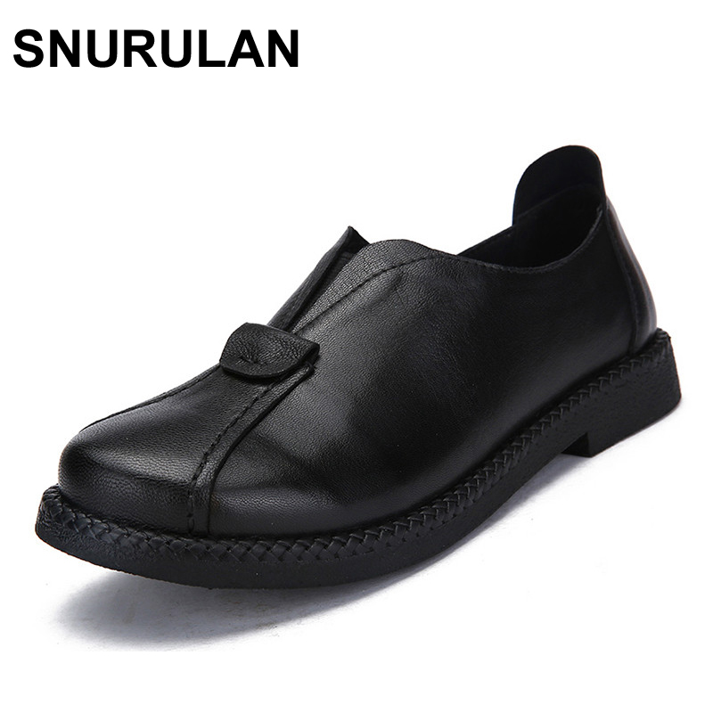SNURULAN 2017 New Women's Handmade Shoes Genuine Leather Flat Lacing Mother Shoes Woman Loafers Soft Single Casual Flats Shoes-in Women's Flats from Shoes    1
