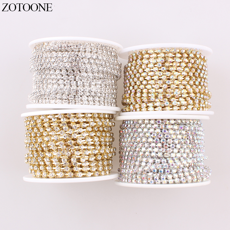 1m Compact Close Clear Rhinestone Crystal Trim Chains Findings For Jewelry Making Silver Gold Color Diy Bracelet Accessories 4mm Wide Varieties Jewelry Findings & Components Jewelry & Accessories