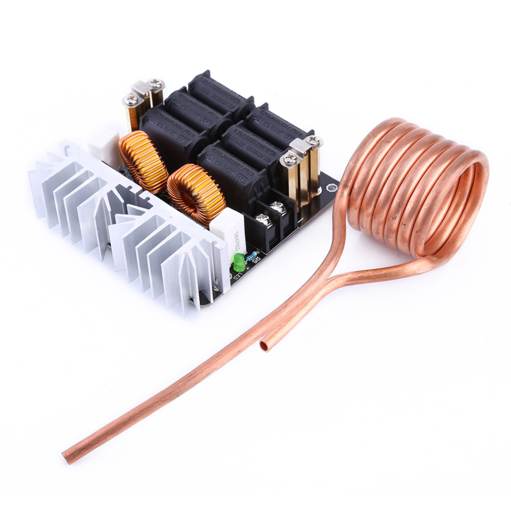 ФОТО Brass 1000W ZVS Low Voltage Induction Heating Board Module/Tesla Voil + coil 12v-48V