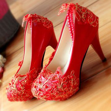 ФОТО Red extra high 11cm heels party shoes, TG134 red gold lace pearls ankle beading bracelet ankle straps party proms pumps shoes