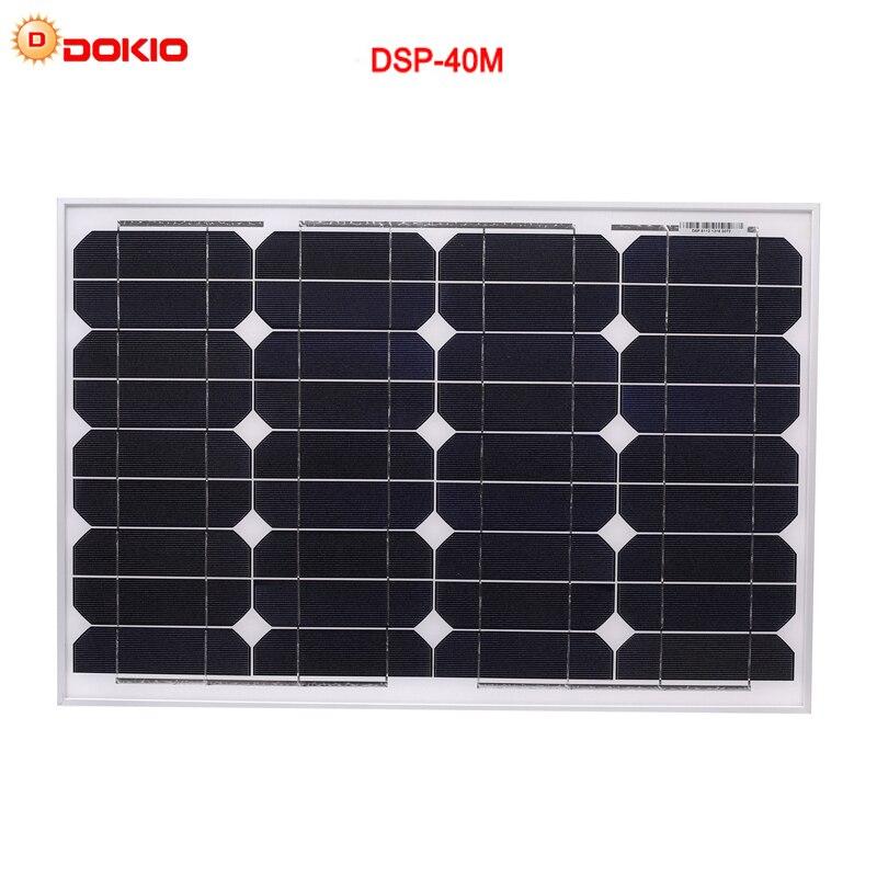 DOKIO Monocrystalline silicon Solar Panel RV paneles solares para moviles batterie solar 18v 40Wcharging for Outdoor Tourism Car dokio 80w monocrystalline silicon solar panel 18v 760x660x30mm size environmental protection panel solar dsp 80m