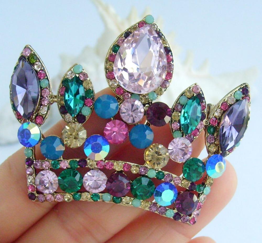 Великолепная брошь «Корона» булавки многоцветный медальон австрийский кристалл EE05050C6