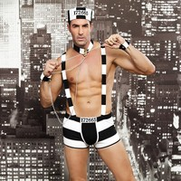 Sexy Convict Criminal Cosplay Zombie Black White Stripe Role Play Prisoner Costume Halloween Costume Sex Necklace Porn Bodydolls