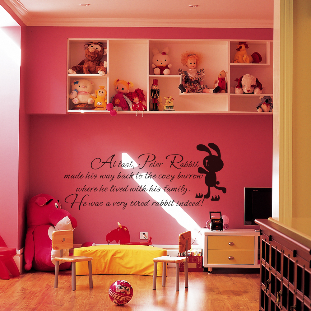 Peter rabbit wall decal baby nursery wall quote baby room - Childrens bedroom stickers for walls ...