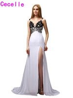 2019 Sexy A line Black And White V neck Evening Dresses Gowns With Train Split Beaded Lace Applique Sheer Back Prom Evening Gown