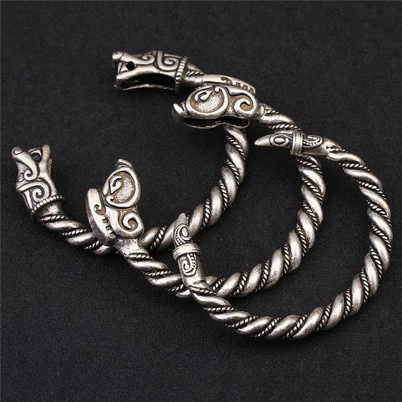 XINYAO Retro Open Fenrir Dragon Viking Bracelets Brazaletes para hombres Vintga Antique Silver Color Cuff Bangles Pulseras F6526