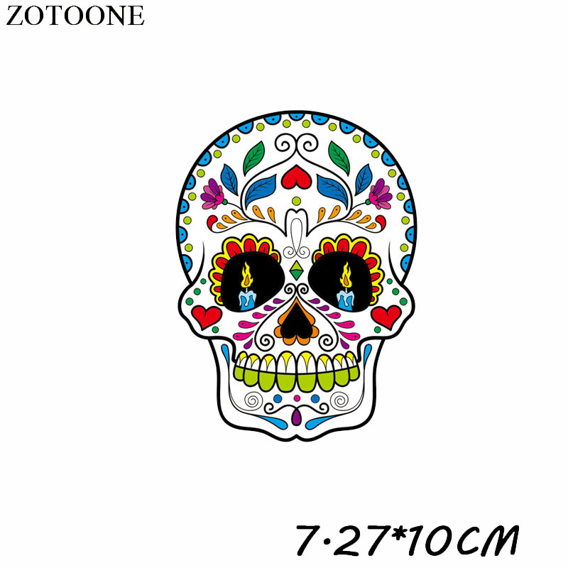 ZOTOONE Cool Punk Skull Patches Iron on Patches Transfers for Clothes T shirt Heat Transfer Sticker DIY Accessory Appliques F1 in Patches from Home Garden