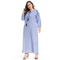 Fashion Abaya 3XL 4XL Plus Size Long Striped Polyester Dress Muslim Loose Style Moroccan dubai Kaftan islamic clothing Vestidos