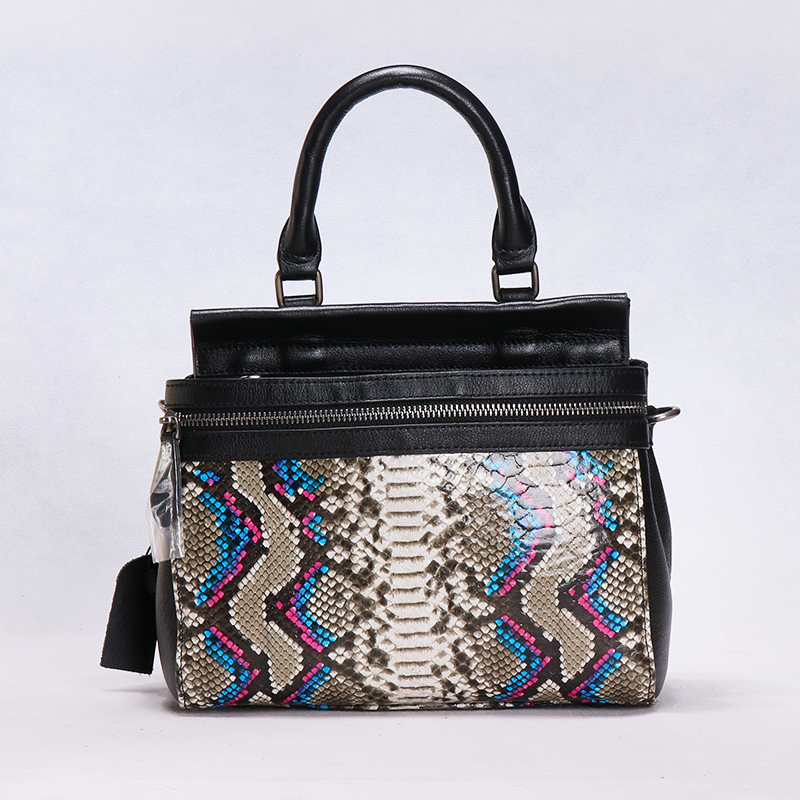 Women genuine leather Serpentine pattern handbag high capacity cow leather bag lady cowhide shoulder bag Middle East Glossy bag